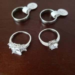 NWT 4 sterling silver rings sizes 8.5 & 9